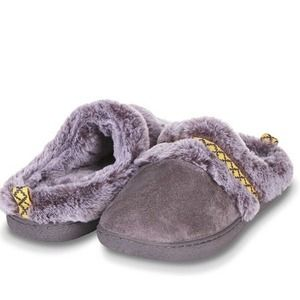 Floopi Womens Warm Aztec Trim Slippers Gray Large